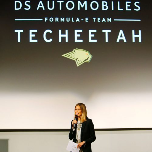 Nicki Shields presenting at the DS TECHEETAH launch
