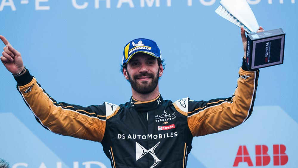 Jean-Éric Vergne on the podium at Ad Diriyah, December 2018 | DS TECHEETAH